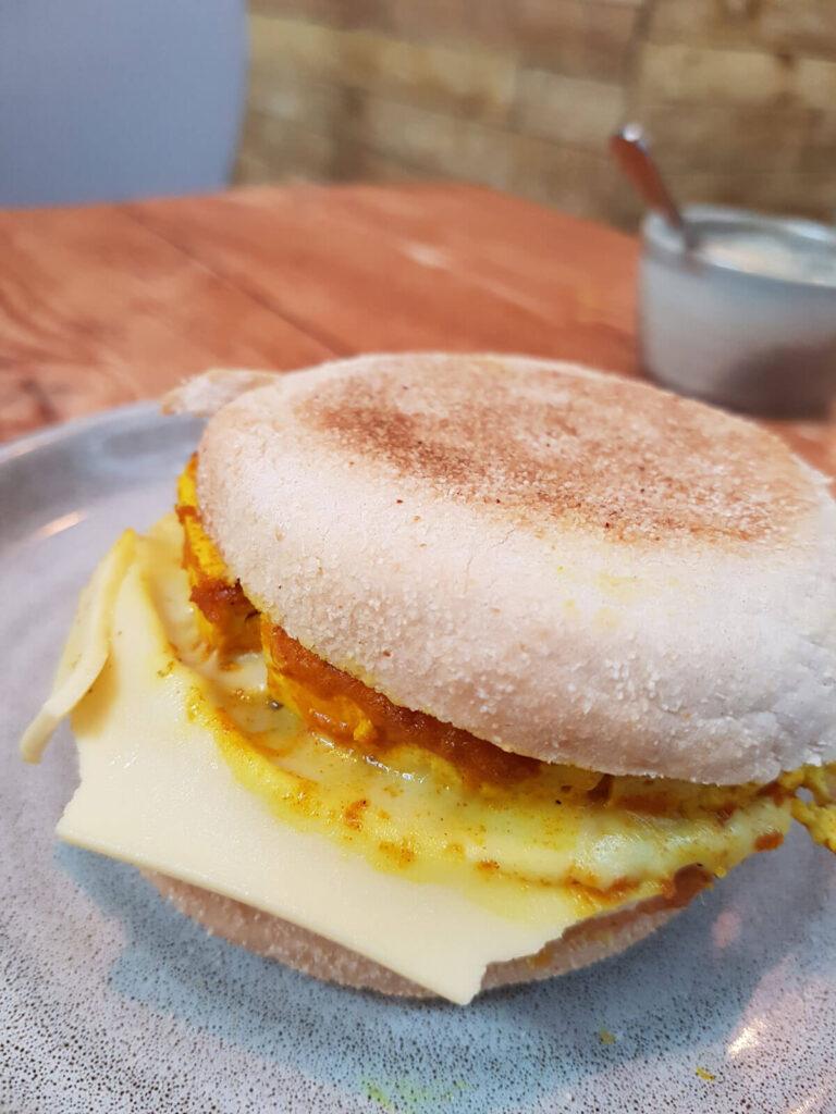 vegan sausage and tofu egg muffin